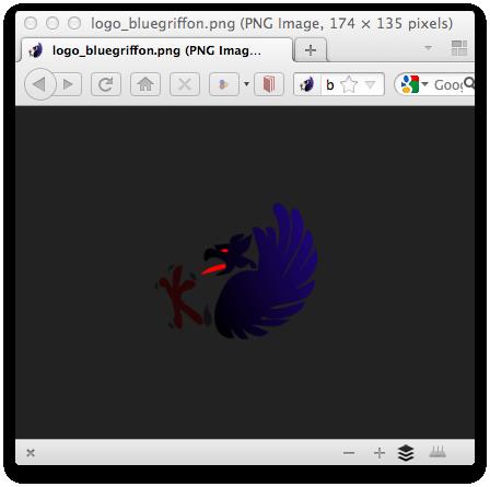 BlueGriffon logo over dark background