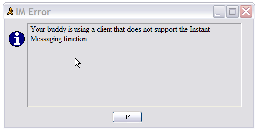 AIM error message, your buddy can't receive IM