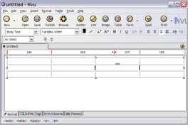 resizing table columns with the mouse in Nvu