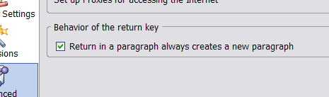 new preference for CR key in P
