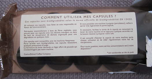 le paquet de capsules
